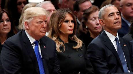 Donald Trump, Melania Trump y Barack Obama en el funeral de George H.W. Bush.