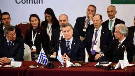 El presidente argentino, Mauricio Macri, habla en la cumbre del Mercosur de diciembre del 2018, en Montevideo (Uruguay).