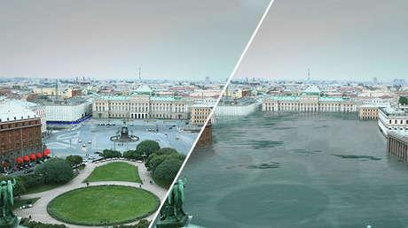 En esta imagen editada se aprecian las posibles consecuencias del impacto del cambio climático en San Petersburgo (Rusia) que podría convertirse en un lago.