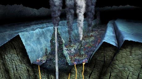 Imagen digital del estrecho de Juan de Fuca, que forma el límite internacional entre EE.UU. y Canadá.