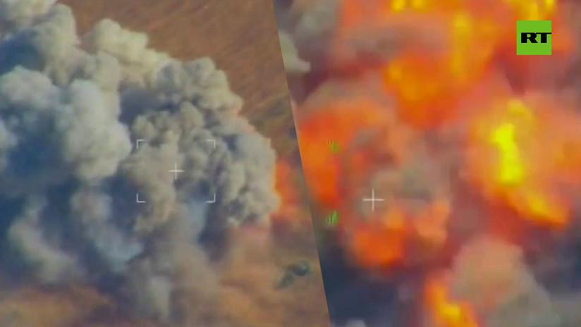 VIDEO: La aviación rusa destruye artillería y escondites de terroristas en Siria
