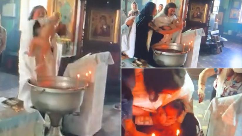 VIDEO: Un sacerdote ruso agita violentamente y provoca heridas en un niño durante su bautizo