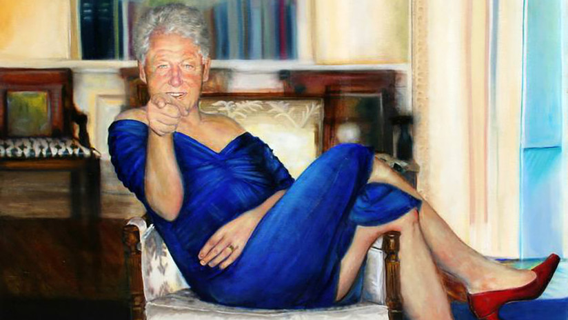 FOTO: Epstein tenía una extraña pintura de Bill Clinton travestido en su casa de Nueva York