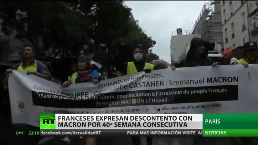 Los 'chalecos amarillos' expresan su descontento con Macron por 40.ª semana consecutiva
