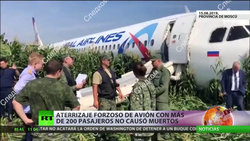 Hazaña aérea: un avión de Ural Airlines aterriza en un campo de maíz de la provincia de Moscú sin víctimas mortales