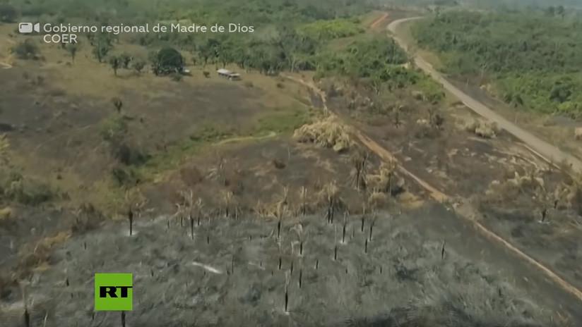 Perú: Incendios forestales afectan al departamento amazónico de Madre de Dios (VIDEO)