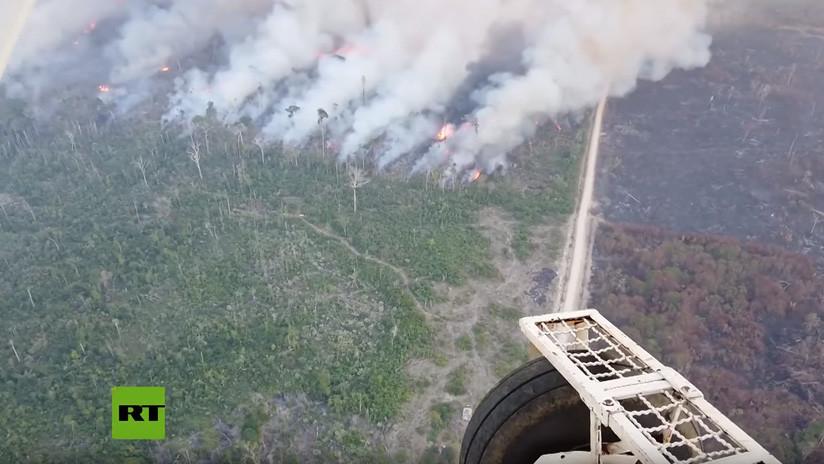Avanza el gigantesco incendio que devora la selva amazónica en Brasil (VIDEO)