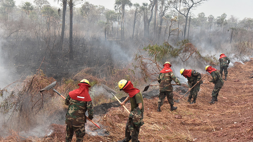 A 40 grados centígrados: la lucha de los bomberos contra los incendios en Bolivia en las zonas a las que solo se accede por aire