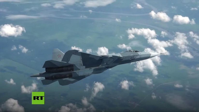 VIDEO: Cazas furtivos Su-57 en vuelos de entrenamiento antes de ser exhibidos en el salón MAKS-2019