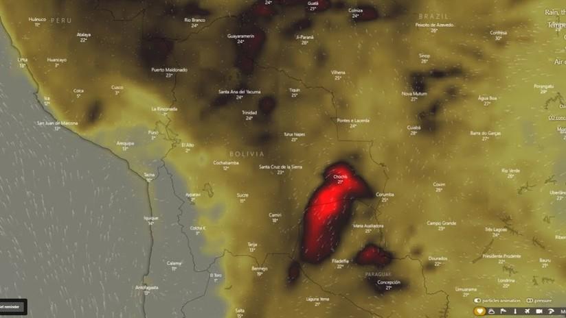 VIDEO: Avance en tiempo real de los incendios en Bolivia y en Brasil a ojo de radar