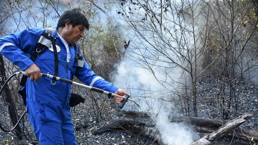 FOTOS, VIDEO: Evo Morales se suma al equipo que sofoca incendios en la Chiquitanía boliviana