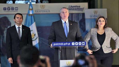 Conferencia de prensa de funcionarios del Gobierno de Guatemala para hablar sobre los acuerdos suscritos con EE. UU., el 1 de agosto de 2019.