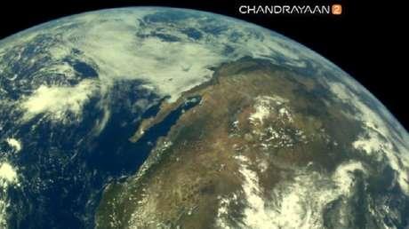 Una de las imágenes de la Tierra tomadas por Chandrayaan-2.