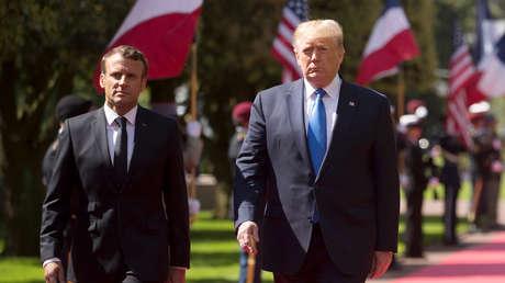El presidente francés Emmanuel Macron y el presidente estadounidense Donald Trump.
