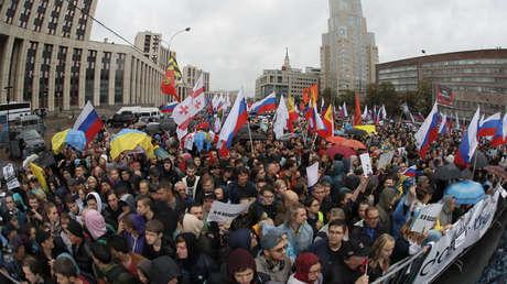 Una manifestación opositora en Moscú, Rusia, el 10 de agosto de 2019.
