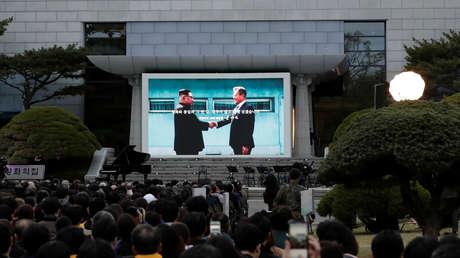 La zona desmilitarizada de Corea el 27 de abril de 2019, durante el primer aniversario de la declaración de Panmunjom.