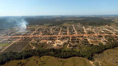 Vista aérea de Santo Antonio de Matupi en el estado de Amazonas, Brasil. 27 de julio de 2017.