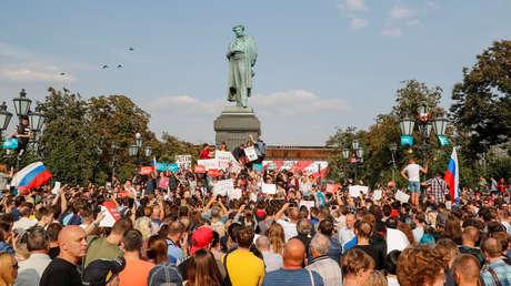 Protesta en Moscú contra la propuesta del Gobierno ruso de elevar la edad nacional de jubilación, el 9 de septiembre de 2018.