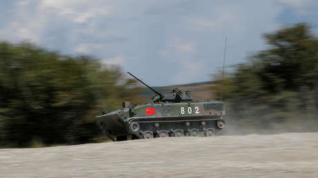 A ZBD-03 armoured infantry fighting vehicle, operated by a crew from China, drives during the Paratrooper's platoon competition for airborne squads, part of the International Army Games 2016, at the Rayevsky shooting range outside the Black Sea port of Novorossiysk, Russia, August 8, 2016.