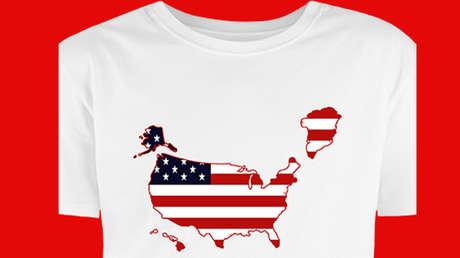 Una camiseta con la imagen de Groenlandia como parte de EE.UU.