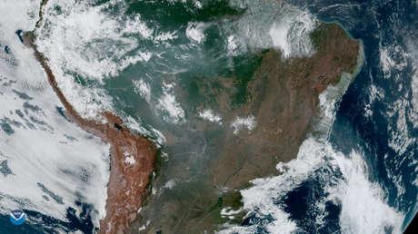 Incendios en la selva amazónica captados por el satélite GOES-16 el 21 de agosto de 2019.