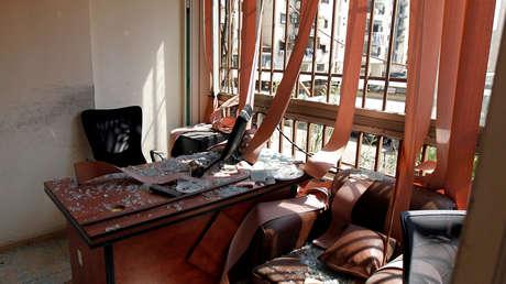 Daños causados por un avión no tripulado israelí en el centro de prensa de Hezbolá en Dahieh, Beirut, Líbano, el 25 de agosto de 2019.