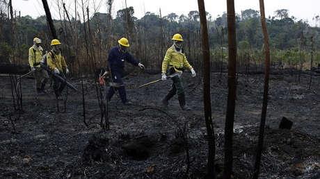 Bomberos caminan por tierra carbonizada en el Bosque Nacional Jacunda, dentro del Amazonas (Brasil), el 25 de agosto del 2019.