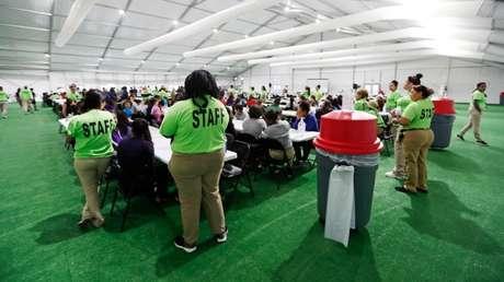 El nuevo centro de detención para niños migrantes en Carrizo Springs, Texas, EE.UU., el 9 de julio de 2019.