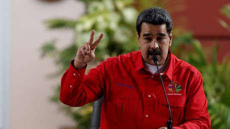 El presidente Nicolás Maduro habla en reunión del Foro de Sao Paulo en Caracas, 28 de julio de 2019.