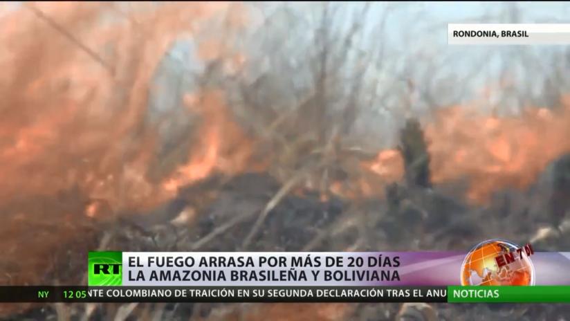 Los incendios arrasan por más de 20 días la Amazonia brasileña y boliviana