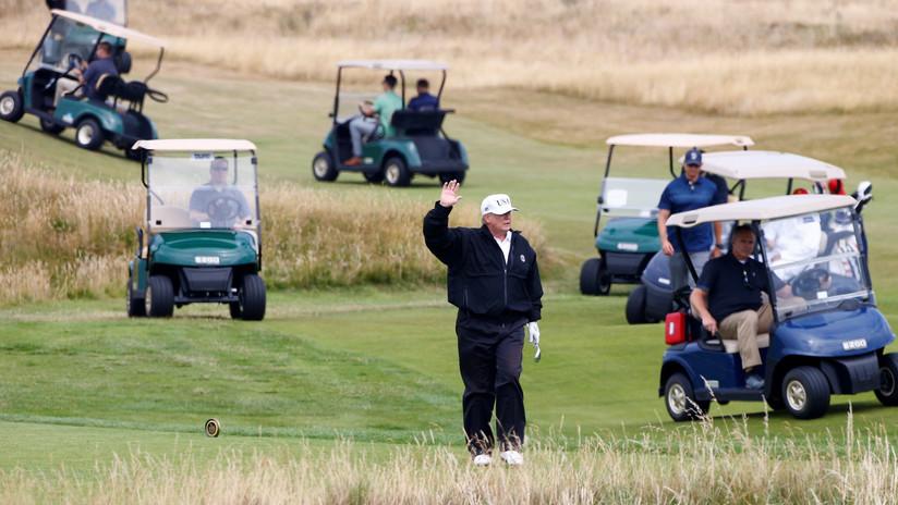Trump cancela su viaje a Polonia para monitorear el paso de Dorian, pero aparece un video que sugiere que fue a jugar al golf