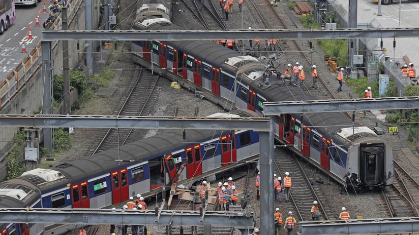 VIDEOS, FOTOS: Se desata el caos en Hong Kong al descarrilarse un tren del metro durante la hora pico