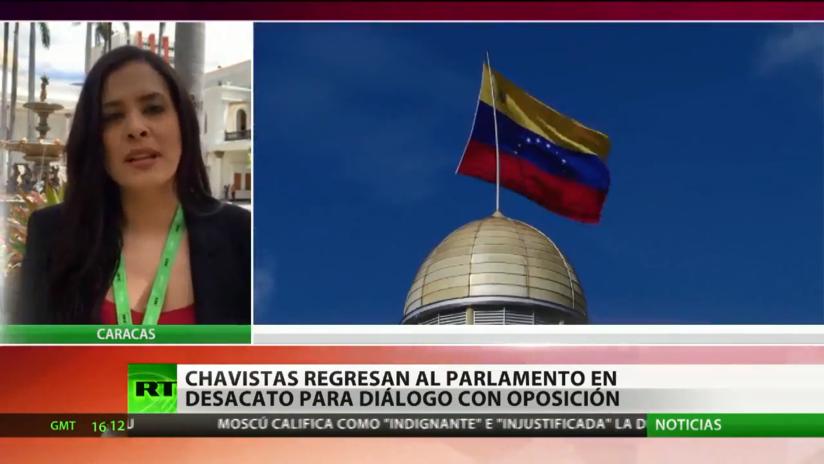 Diputados del chavismo regresan al Parlamento de Venezuela en desacato para dialogar con la oposición