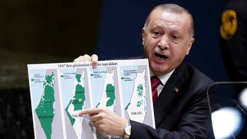 """""""¿Dónde empieza y termina el territorio israelí?"""": Erdogan exhibe a la ONU un mapa """"sin presencia palestina"""" y denuncia la expansión de Israel (VIDEO)"""