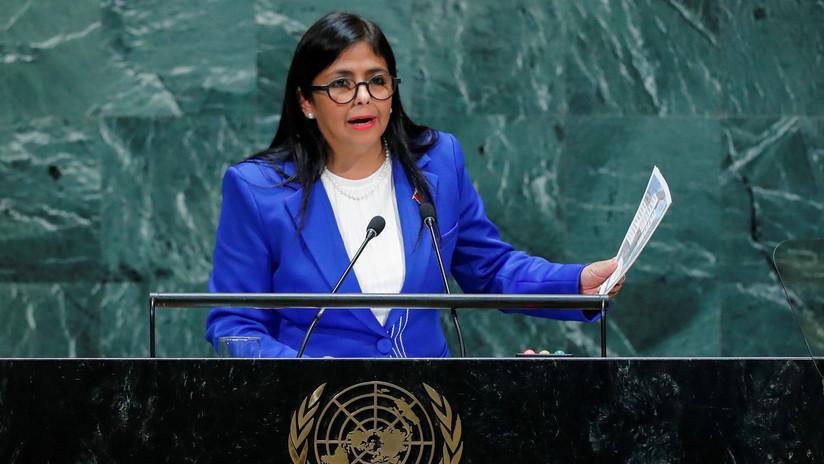 """Delcy Rodríguez en la ONU: """"EE.UU. ejerce un nuevo tipo de terrorismo que usa bancos en vez de bombas"""" (VIDEO)"""