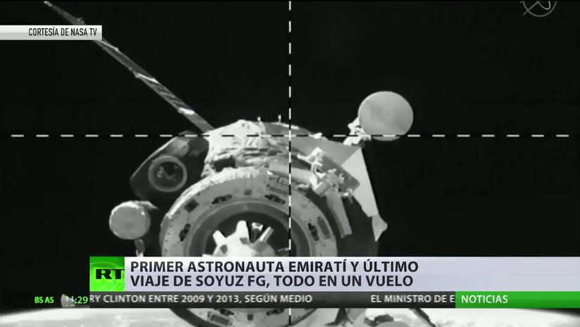 El cohete ruso Soyuz FG se acopla a la EEI con el primer astronauta emiratí en el último vuelo de su historia