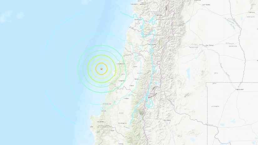 Se registra sismo de magnitud 6,8 al suroeste de Chile