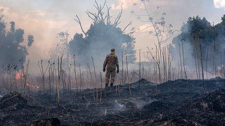 Incendio en la cuenca del Amazonas en el estado de Mato Grosso, Brasil, el 26 de agosto de 2019.