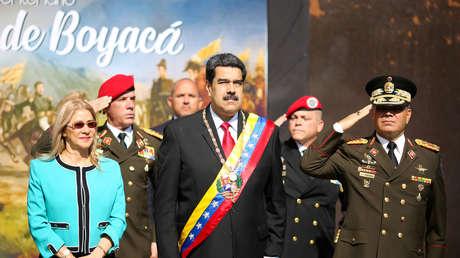 Presidente Nicolás Maduro, su esposa Cilia Flores y el ministro de Defensa Vladimir Padrino, 7 de agosto de 2019.