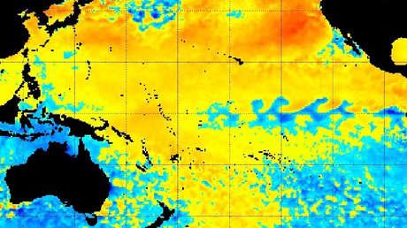 Mapa de la ola de calor oceánica.