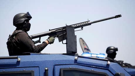 Policía estatal en vehículo blindado en Nuevo Laredo, Tamaulipas, México, 13 de abril de 2019.