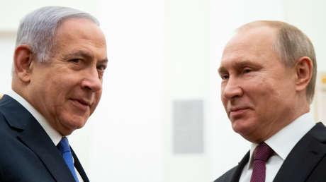 El primer ministro israelí, Benjamín Netanyahu, y el presidente de Rusia, Vladímir Putin,  en Moscú, Rusia, el 4 de abril de 2019