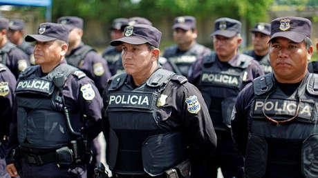 Policías durante el lanzamiento de la nueva patrulla fronteriza, La Hachadura, El Salvador, 12 de septiembre de 2019.