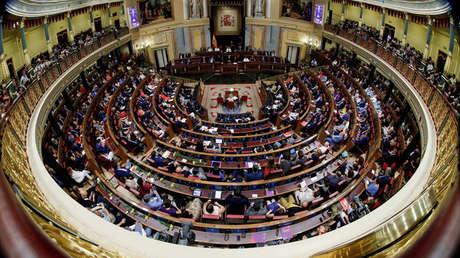 El presidente en funciones Pedro Sánchez durante el debate de investidura en el Parlamento en Madrid. 22 de julio de 2019.