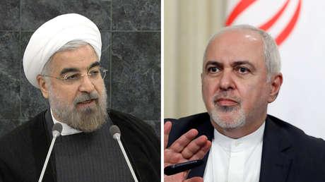 El presidente de Irán, Hasán Rohaní (izquierda) y el canciller iraní, Mohammad Javad Zarif.