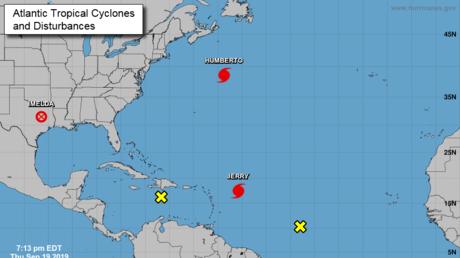 Tormentas tropicales en la región del Atlántico. 19 de septiembre de 2019.