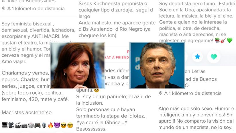 """""""Si votas Macri (o Kirchner), ni me mires"""": la polarización política argentina invade Tinder"""