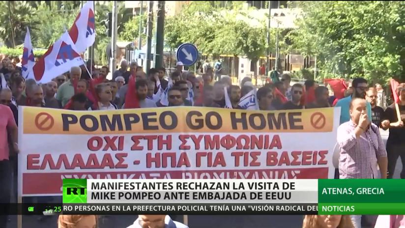 Grecia: Manifestantes en Atenas protestan contra la visita de Mike Pompeo