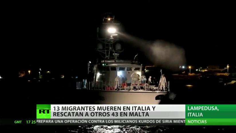 Fallecen 13 migrantes cerca de la costa de Italia y rescatan a 43 náufragos en Malta