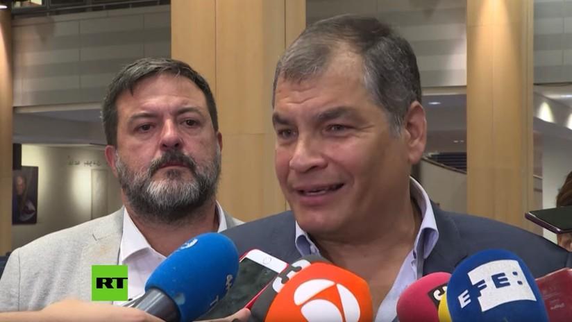 """Correa pide elecciones anticipadas en Ecuador desde el Parlamento Europeo, y bromea: """"Que ya no está en Bruselas, sino en Venezuela"""""""